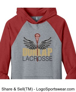 Eagle-winged Lacrosse Stick: grey hooded shirt with red sleeves Design Zoom
