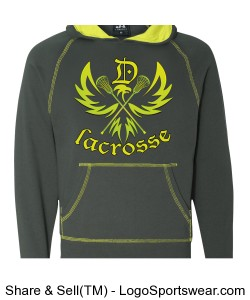 Neon Dunlap Eagle: Fleece Hoodie Design Zoom